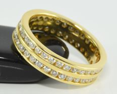 1.22 ct diamond double row eternity ring in 18 kt gold ** no reserve **