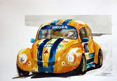 Volkswagen - Race Cars Watercolour - 50 x 25 cm - Gilberto Gaspar