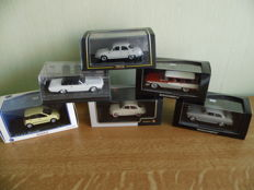 Norev / Minichamps - Scale 1/43 - lot with 6 models 007 series: Saab, Edsel, Panhard, Borgward, Ford & Fiat