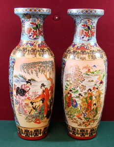 Pair of large polychrome porcelain vases - China - end 20th century