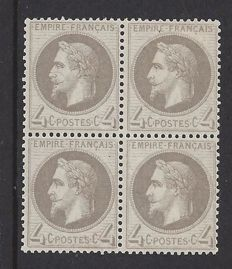France 1862 - Louis Napoleon III, Legend Empire Franc. 4c. in block of 4 – Yvert n° 27B