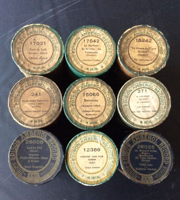 9 Edison Amberol Records (4 min.) phonograph cylinders playable on, among other things, Edison phonographs, period 1909-1915 - origin Orange N.J.   U. S. A. The rolls are in good but used condition