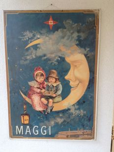 Authentic publicity Maggi (ca. 1900) - Chromolitography advertisement - carton - (46 x 66 cm) - Children sitting on the moon