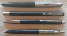 "4 Pens: Black Parker 21 fountain pen; Parker Vector ""E"" Blue; Black Parker Vector ""IIIE""  and Blue Parker Jotter - Vintage"