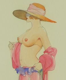 Art print ; Leone Frollo - Pin-up with Hat - 2007