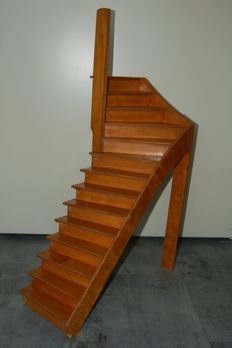 Scale model of a staircase: 1: 8, from an old woodwork school, old instruction model, known as a masterpiece - 1960