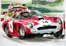 Ferrari - Race Cars Watercolor - 50 x 25 cm - by Gilberto Gaspar