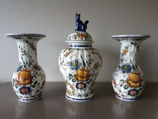 Three piece Delft polychrome garniture painted by H. Bequet