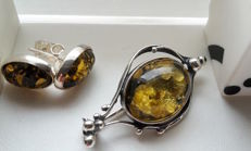 Set - Brooche Earrings - natural Baltic amber - silver 925 - no pressed - UV test