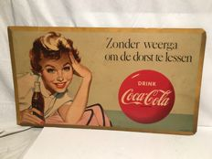 Original large Coca-Cola cardboard advertising poster (1950s-60s).
