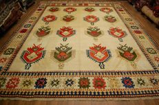 Hand-knotted old Turkish Kars Kazak carpet, geometrical pattern approx. 3.75 x 3.05 m