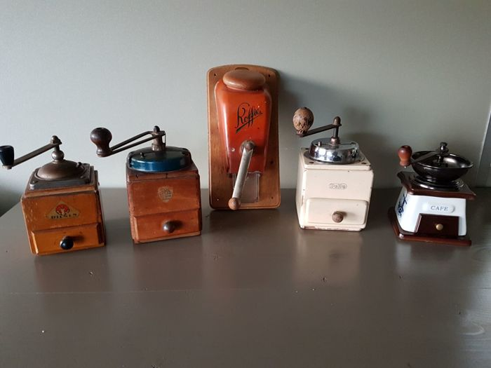 5 beautiful old wall and hand coffee grinders