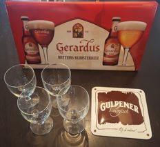 2 x advertising signs Gulpen and Gerardus and 4 Gerardus goblets