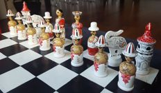 Oriental hand made and painted chess set