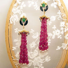 18K gold  earrings with 57.4ct of rubies ,0.78ct of  emeralds,0.37ct of  sapphires