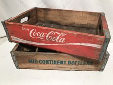 Two vintage crates from the USA, Coca-Cola / Mid-Continent Bottlers (rare) - from the 1970s.