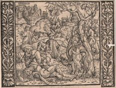 Niklaus Manuel I (Swiss 1484 - 1530)  Attributed: The Merciful Samaritan - Ca. 1525 / and two woodcuts by Christoffel van Sichem (1580-1658)