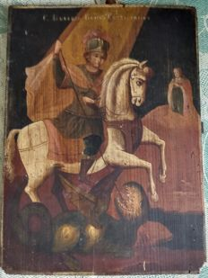 Russian icon (late 19th) - The St. George slaying the dragon (40 x 30 cm)