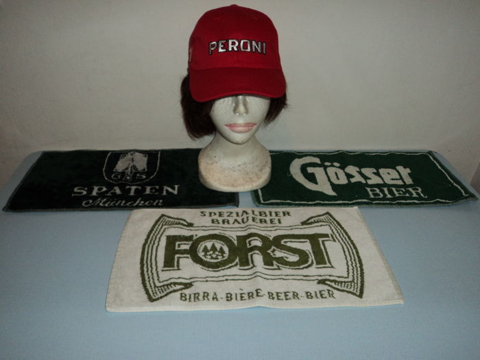 Lot of 3 branded beer mats + 1 PERONI marked cap