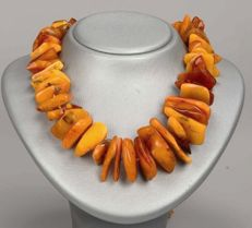 Vintage Butterscotch egg yolk  100% natural untreated Baltic Amber necklace, ca. 126 grams