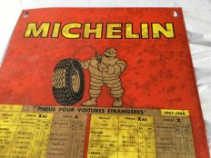 "Big old metal advertising panel ""MICHELIN"" tyre table for various car brands __ 1967-1968 France"