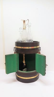 Wooden drinks cabinet/bar decorated with copper and cowhide - 20th century