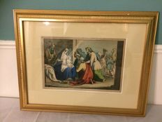 19th century etching or engraving, depicting the birth of Jesus (nativity scene) - England circa 1850