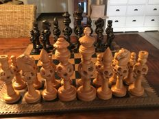 Old puzzleball chess pieces from India