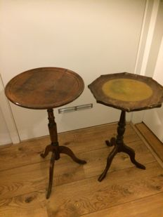 Two beech wood wine tables, England, circa 1950