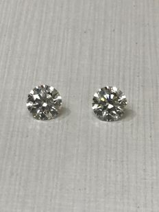 Pair - Round Brilliant Diamonds 1.11ct total G IF GIA  - Low Reserve Price - # WD2160-WD2159