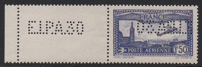 France 1930 – Airmail, plane flying over Marseille, 1f 50 overseas perfin EIPA30, signed Scheller – Yvert PA no. 6c