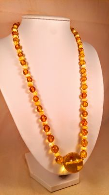 100% Natural Baltic amber necklace, length ca. 54 cm, 26 grams
