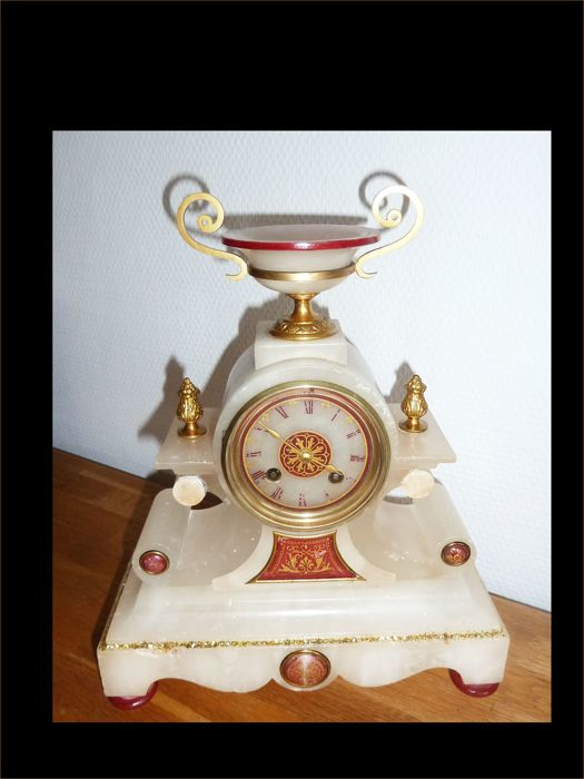 Large French pendulum clock with crown and decorations - alabaster - strike on bell around 1880