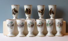 Ten porcelain coffee cups with horse motif