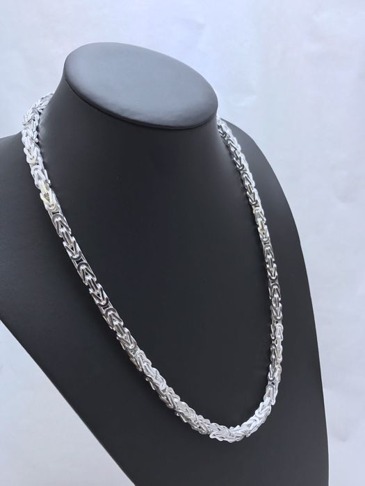 Silver (925 kt) Byzantine link necklace, length: 60 cm, width: 6 mm, weight: 120 g