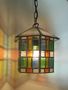 6-Sided stained glass lamp - pendant lamp