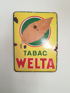 Enamel sign - Tabac Welta 1954 - signed