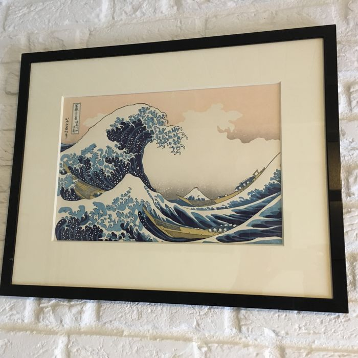 Woodblock print by Katsushika Hokusai (1760-1849) (reprint) - 'The great Wave off Kanagawa' - Japan - 2nd half 20th century