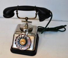 Chrome desk telephone made by Telefon Fabrik Automatic in Copenhagen, Denmark ca. 1930