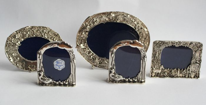 5 silver plated miniature photo frames - Silver scenes ltd. Wales ...