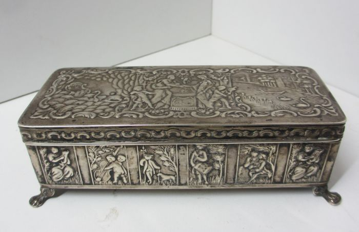 Unique Silver box, chest with wedding scenes, Netherlands, 1924