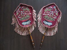 A set of embroidered fire screens, late 19th century