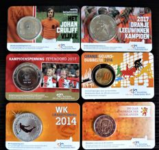 The Netherlands 6 coin cards 10 cent to 5 euro 2013/2017 incl. Johan Cruijf, World Cup football and Feyenoord