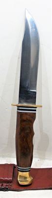 A beautiful hunting knife with leather sheath