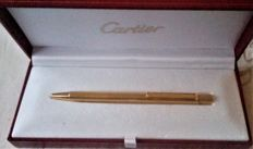 Cartier Gold Plated  Ball Point Pen With Original Box & Documentation.