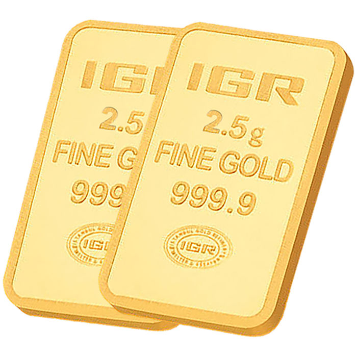 2.5+2.5 g, 2 pieces of 2.5g sealed 24 Ct Fine Gold Bars,