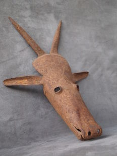 Rare fetish - Antelope head in iron - BAMBARA - Mali