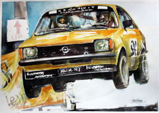 Opel Kadett C - Race Cars Watercolour - 50 x 25 cm - Gilberto Gaspar