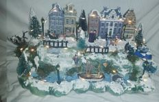 "Large Christmas scene with lighting ""the Amsterdam Canal belt""."