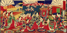 Woodblock print triptych by Toyohara Chikanobu (1838 - 1912) - Empress Meiji and Royal Carriage - Japan - approx. 1878